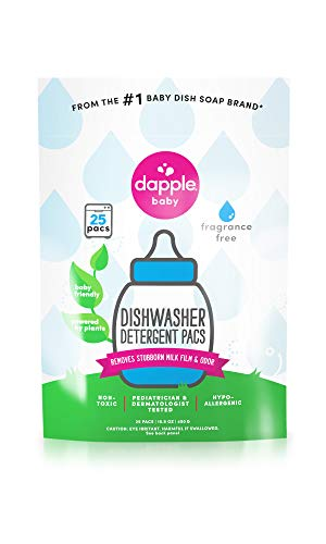 DAPPLE Baby Dishwasher Pacs, Fragrance Free Dishwasher Pods, Plant Based, Hypoallergenic, 25 Count
