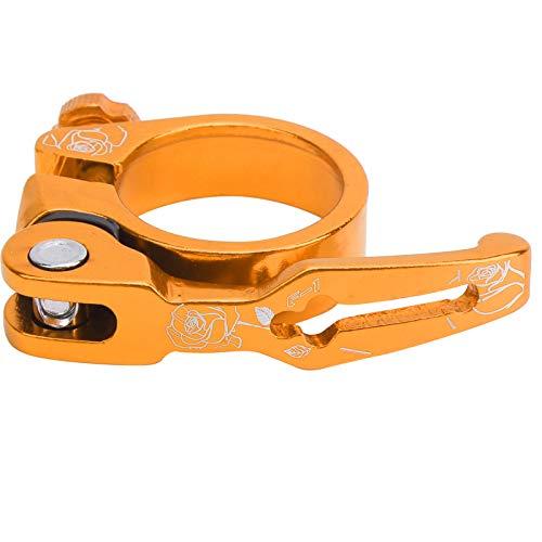 Clip de Tubo de Bicicleta, Clip de tija de sillín de liberación rápida Resistente a la corrosión con 1 Pieza para la mayoría de Las Abrazaderas de Tubo de Bicicleta para Ciclistas(Golden)