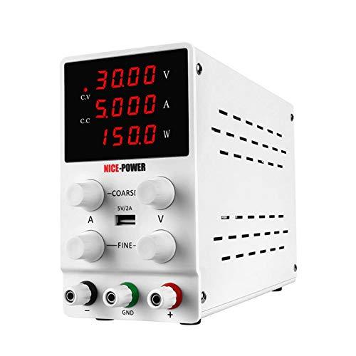 Fuente de alimentación de laboratorio, 0-30 V/0-5 A, regulable, con pantalla LED de 4 dígitos, alimentación de corte estable, con cable de alimentación de corriente