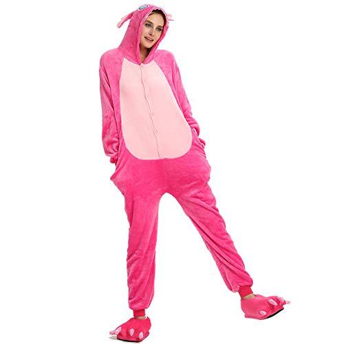 JIAWEIDAMAI Kigurumi Pijama para adultos Lilo Stitch Onesie mujeres hombres dibujos animados Unisex Pijamas Anime Disfraz Pijama Halloween Cosplay Party, Solo mono, medium