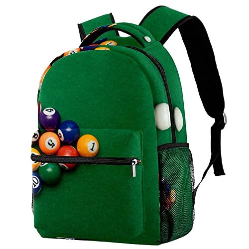 RuppertTextile Zaino per adolescenti e ragazzi Utility Daypack Walk Travel Bag Piscina americana del biliardo con il pacchetto della bottiglia d'acqua