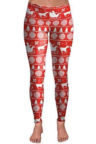 red and white santa with sled plus size christmas leggings