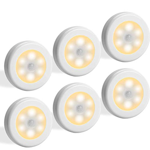 MEICHEPRO 人感センサーライト 電池式センサーライト LEDライト光センサー 両面テープ マグネット付き 自動ON/OFF (電球色 6個セット)