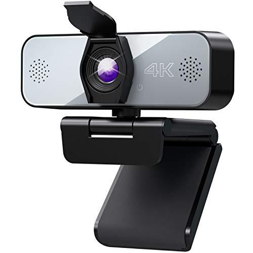 Yoroshi Webcam,Webcam 4k con Micrófono Estéreo,Camara para PC con Clip Giratorio Cubierta...