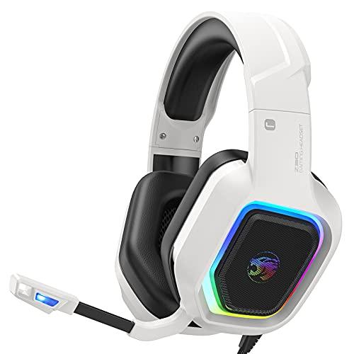 ZIUMIER Z30 Gaming Headset für PS5,PS4, PC, Xbox One, Buntes RGB Licht, Gamer Kopfhörer mit Mikrofon, 50MM Treiber Bass Surround Sound, Weiß