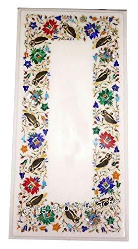 15 x 30 pulgadas de mármol blanco mesa de centro superior multi color piedras cama lado superior con incrustaciones