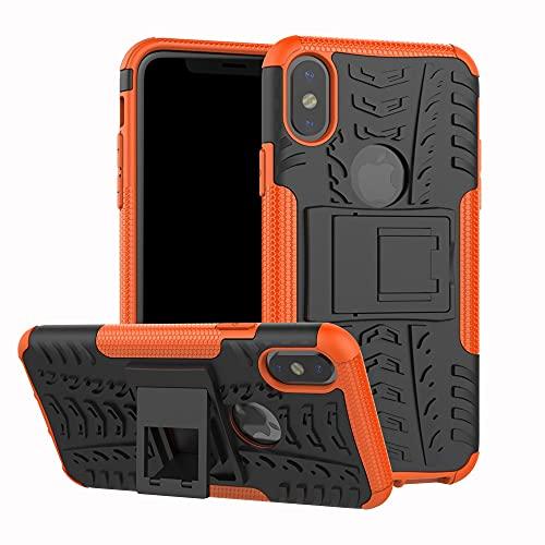 JIAHENG Caja del teléfono Funda Protectora para iPhone X/XS, TPU + PC Bumper Híbrido Híbrido Funda Robusta, Caja de teléfono a Prueba de Golpes con Soporte Cubierta de Cuero