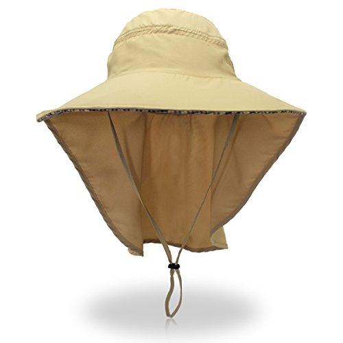 LAOWWO Sonnenhut Sommer Outdoor UPF50+ UV Schutz Damen Hut Breiter Krempe Hüte Breathable Stoff Gartenarbeit Hut mit Nackenschutz