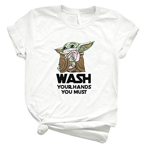 Baby Yoda Wash Your Hands You Must Córónávírús Shirt Basic Novelty Tees Graphics Female Cotton Printed Best Shirts Comfy Shirt