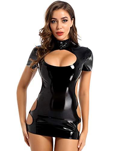iixpin Damen Lack Leder Kleid Bodycon Minikleid Sexy Partykleid Wetlook Etuikleider mit Stehkragen Frauen Dessous Babydoll Clubwear Schwarz M