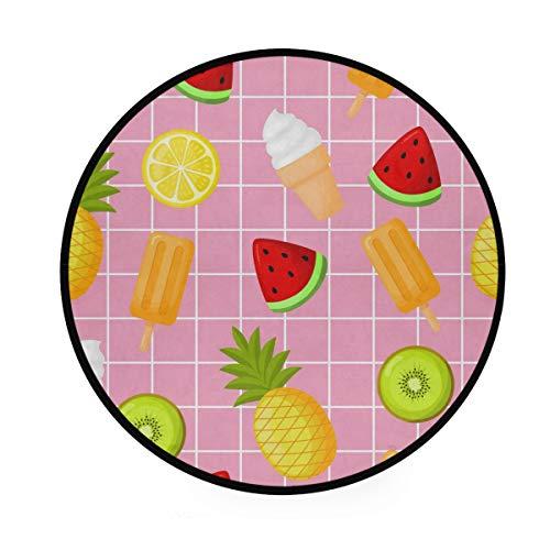 Alfombra redonda de 3 pies – Helado Limón Sandía Piña Redonda Alfombra Lavable Piso Esterillas para Cocina Dormitorio Salón