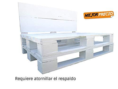 Sofa de palets europeos para Jardin & Terazz & Patio & Atico & Interior & Exterior (80 x 120 x 15 cm, Blanco)