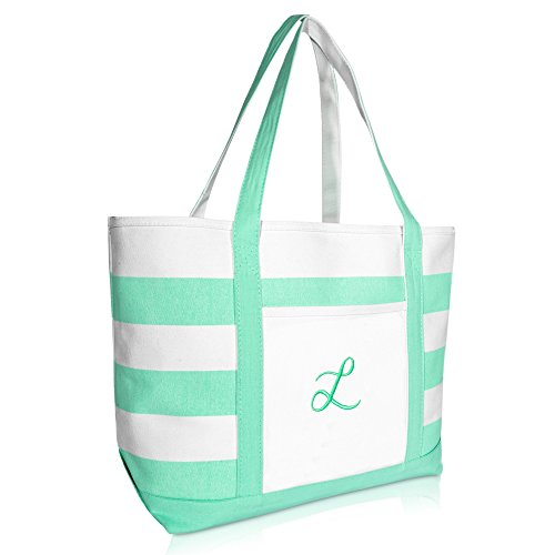 DALIX Monogram Beach Bag and Totes for Women Personalized Gifts Mint Green L