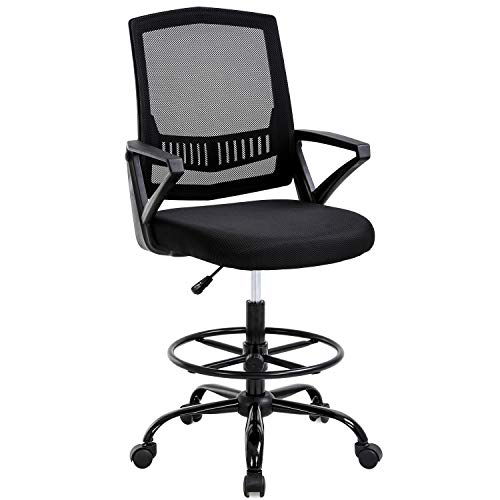 Drafting Chair Tall Office Chair Ergonomic Standing Desk Chair Adjustable Height with Lumbar Support Arms Footrest Mid Back Drafting Stool Swivel Rolling Mesh Computer Chair for Adults(Black)