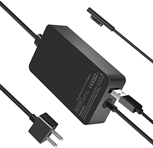 Charger 44W for Surface Pro, Power Supply Compatible with Microsoft Surface Pro 3/4/5/6 Surface Laptop 1/2 Surface Go & Surface Book with USB Charging Port
