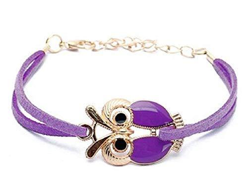 Bracciale civetta gufo braccialetto multifilo bellissimo regalo donna viola