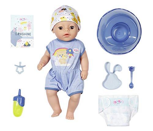 Zapf Creation 827338 BABY born Soft Touch Little Boy Puppe mit lebensechten Funktionen und viel Zubehör, weiche Soft-Touch-Oberfläche, 36 cm, blau