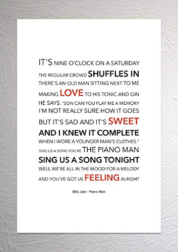 Billy Joel - Piano Man - Funky Lyric Art Print - A4 formaat