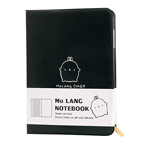 Haiker Black Molang Rabbit Pocket Journal Notebook Molang Travel Journal with Unlined Blank Paper & Pen Holder for Travelers Students & School Supplies