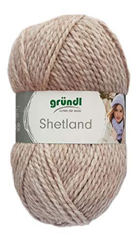 Gründl Wolle Shetland Farbe 06 - mocca melange - Handstrickgarn in Pastelltönen zum Stricken & Häkeln