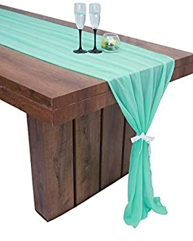 Parfair Dessin Mint 10Ft Sheer Chiffon Table Runner 30x120 for Romantic Rustic Boho Decoration Bridal Shower Wedding Birthday Party Cake Table - Mint