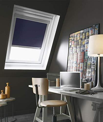 MADECOSTORE Store Enrouleur Occultant Cadre Alu Compatible VELUX® - Bleu foncé - 61 x 94/116cm - M06/M08