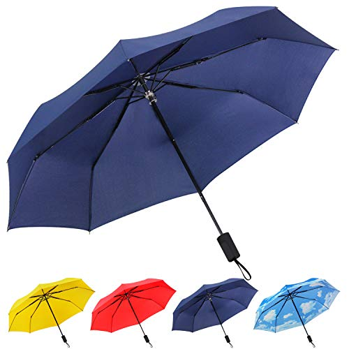 Travel Folding Compact Umbrella Windproof, UV Protection and Lightweight Umbrella for Women Men and Kids,Navy