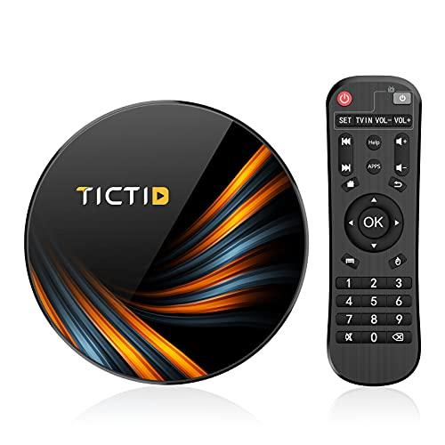 TICTID Android 9.0 TV Box 【4G+64G】 S905X3 Quad-Core, 1000M LAN, Wi-Fi-Dual 5G/2.4G, Cortex A55 CPU, BT 4.0, USB 3.0, 8K*4K*2K Smart TV Box