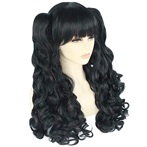 ANOGOL Hair+Cap Black Cosply Wig with Ponytails Long Curly Wigs with Bangs