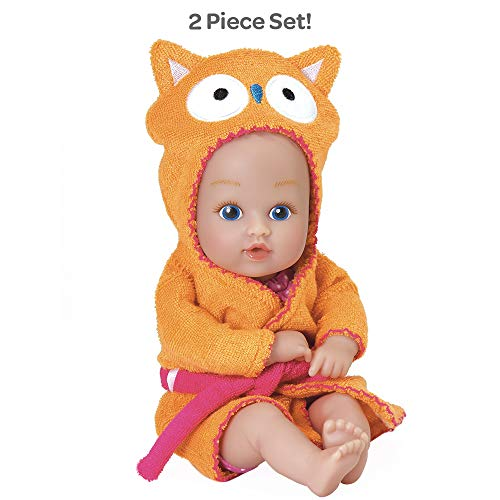 """Adora BathTime Baby Tot """"Owl"""" small 8.5 Inch washable BathTub Water Safe Soft Body Vinyl Fun Play Toy Doll for Boy or Girl Children and Toddlers 1 Year Old and up"""
