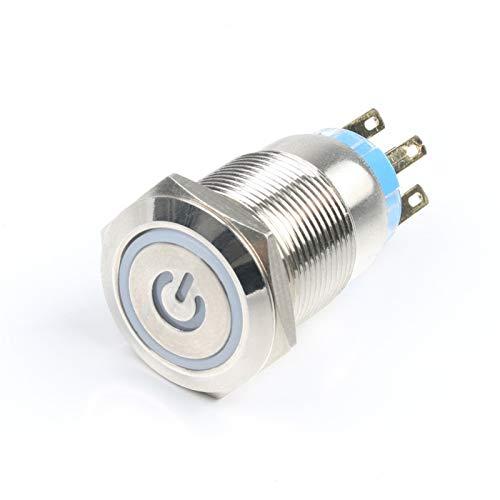 Botón pulsador para Impermeable Interruptor, 1 unids 19mm impermeable 12V 24V 220V 3V interruptor de botón de metal, enganchado / reinicio momentáneo Cuerno LED PRENSA LED Coche Auto PC POTENCIA inter