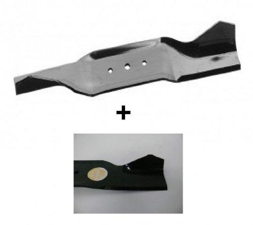 Handgeschärfte Messer im Doppelpack für MTD B10 + B100 + B115 + 700-800 , Länge= 413mm , Zentralbohrung=10,4mm, Aussenlöcher sind 8mm im Abstand Mitte zu Mitte 64mm