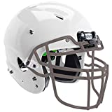 Schutt Sports Vengeance A3 Youth Football Helmet - Includes Carbon Steel Facemask, White Helmet, Gray V-ROPO-TRAD-YF Facemask, Small