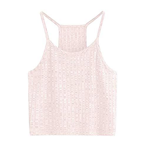 Ärmelloses kurzes Westenoberteil, Reizvolles festes Trägershirt-Weste der Art- und Weisefrauen Weg vom Schulter-Halter-Bluse-T-Shirt Rosa XS