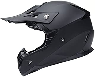 Motocross Motorradhelm Downhill Fullface Helm - Yema YM-915 Cross DH Enduro Quad Mountainbike BMX MTB Helm ECE für Damen Herren Erwachsene-Schwarz Matt-M