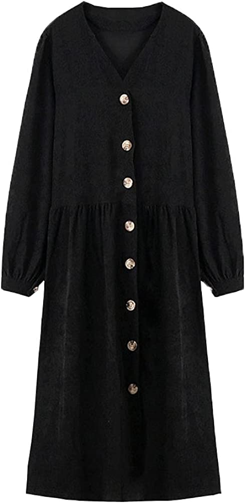 chouyatou Women's Casual Loose-Fit Single Breasted Long Sleeve Corduroy Maxi Dress