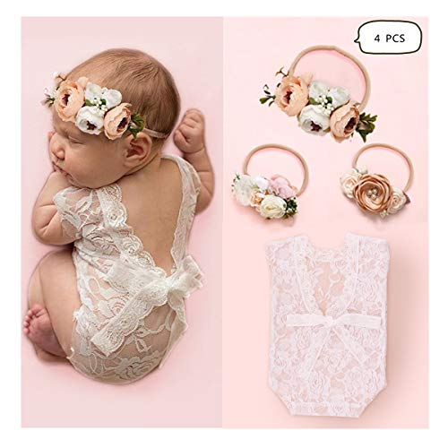 Newborn Baby Cute Lace Rompers Photography Props with Flower Headband Vest Floral Classic Outfits for Girl Princess Twins Birthday Party (4 PCS)