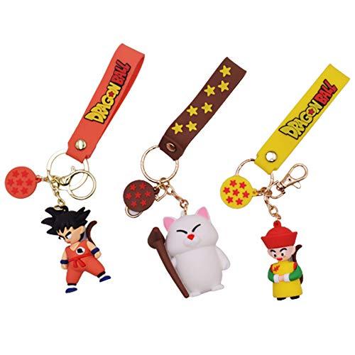 3 piezas Anime Dragon Ball llavero Goku figuras juguetes llaveros colgante Dragon Ball llavero PVC coche llavero anillo bolsa adornos