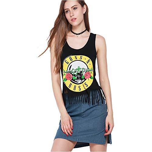 GILLEM Crop Top Women T-Shirt Vintage Guns N Rose Printed Tassels Tank Top Vest Shirt,Black,US 6