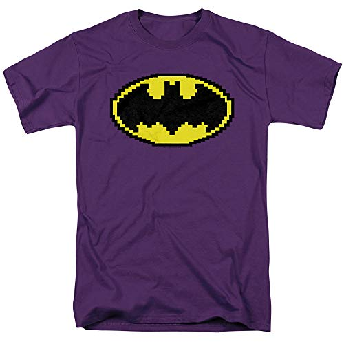 Batman Pixel Symbol Unisex Adult T Shirt for Men and Women, Purple, 5X-Large