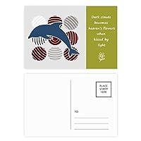ドルフィンサークルの漫画の説明 詩のポストカードセットサンクスカード郵送側20個