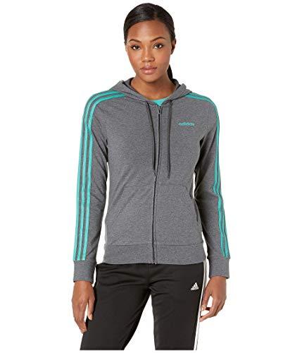 adidas Women's Essential 3-Stripes Full Zip Hoodie Dark Grey Heather Small