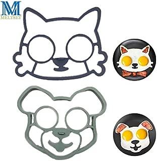Meltset 2pcs/set Silicone Dog Cat Face Shape Egg Mold Non-stick Pancake Rings Kitchen Breakfast Cooking Tools Omelette Molds