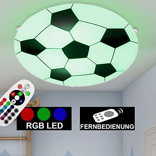 LED Fußball Wand- und Decken Leuchte Lampe Kinder- Spiel- Zimmer Beleuchtung rund inkl. RGB Fernbedienung Farbwechsler DIMMBAR