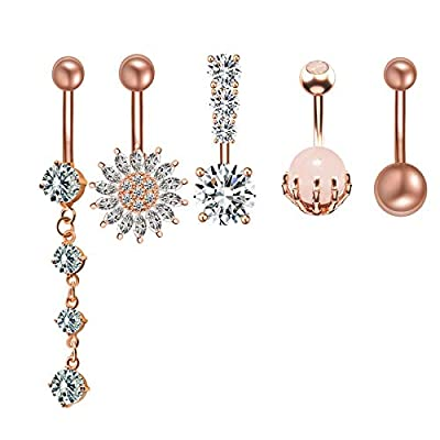 SEENI 5PCS 316L Surgical Steel Belly Button Rings CZ Flower Skull Hand For Women Body Piercing (Rose Gold/5PCSSet)