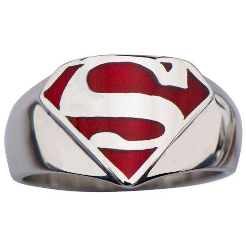 Superman Hombre de acero inoxidable acero y esmalte rojo anillo de sello (supmfr8412) tamaño 10