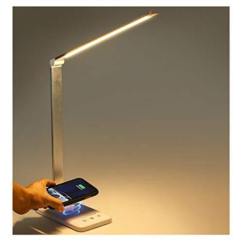 Lámpara de Escritorio Led Lámpara de escritorio LED con el cargador inalámbrico, puerto de carga USB, control táctil, aleación de aluminio Eye-cuidado lámpara de mesa for la lectura ( Color : Silver )