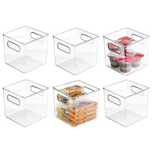 mDesign 6er-Set Aufbewahrungsbox mit Griffen – praktische Kühlschrankbox zur Lebensmittelaufbewahrung – Ablage aus BPA-freiem Kunststoff für den Küchen- oder Kühlschrank – durchsichtig