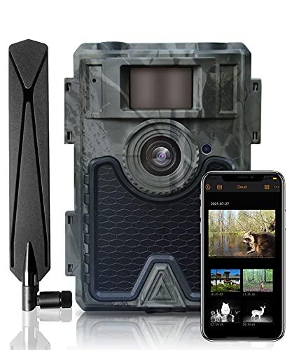 WingHome 4G LTE Wildkamera, Nachtsicht-Bewegungsmelder 24MP HFD1080P Jagdkamera, IP66 wasserdicht und 940nm IR LED Nachtsichtgerät, 0.4s Fast Trigger Sensor, 52° Weitwinkel, APP Mobile Übertragung