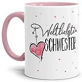 Tasse mit Spruch für die Weltbeste Schwester - Kaffeetasse/Familie/Geschenk-Idee/Mug/Cup/Innen & Henkel Rosa